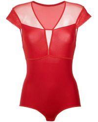 Giuliana Romanno - Tulle Panels Bodysuit - Lyst