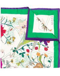 Gucci Floral Print Silk Scarf - Wit