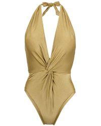 Martha Medeiros Halterneck Twisted Detail Swimsuit - Yellow