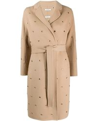 P.A.R.O.S.H. Embellished Trench Coat - Natural