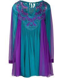 Alberta Ferretti コントラストパネル ドレス - ブルー