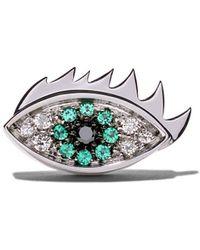 """Delfina Delettrez """"18kt White Gold, Emerald And Diamond Eye On Me Earring"""" - Белый"""