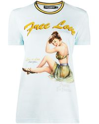 Dolce & Gabbana Free Love プリント Tシャツ - ブルー