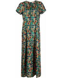 La DoubleJ Платье Макси С Абстрактным Принтом - Зеленый