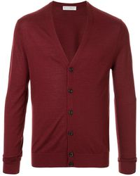 Gieves & Hawkes V-neck Fine Knit Cardigan - Red