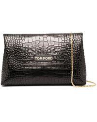 Tom Ford Клатч С Тиснением Под Крокодила - Черный