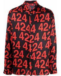 424 ロゴ シャツ - レッド
