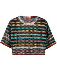 Missoni Striped-crochet Cropped T-shirt - Black