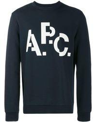 A.P.C. Logo Crew Neck Sweatshirt - Blue