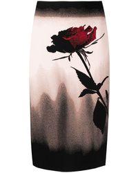 Alexander McQueen Юбка-карандаш С Цветочным Принтом - Черный