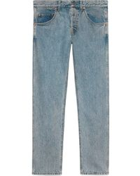 Gucci Denim Tapered Pant With Panther - Blue