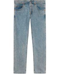 Gucci Jean fuselé à patch brodé - Bleu