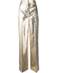 Sara Battaglia Foliage Print Wide Leg Trousers - Metallic