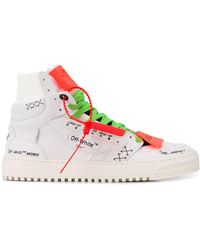 Off White C O Virgil Abloh Leather Off Court High Top Sneakers In