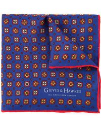 Gieves & Hawkes Printed Pocket Square - Blue