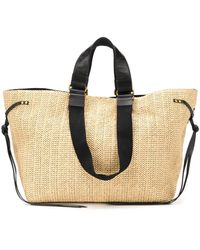 Isabel Marant Magnetic fastening straw tote - Multicolore