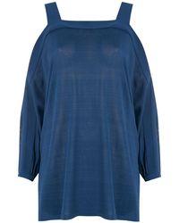 Egrey Cold Shoulders Blouse - Blue