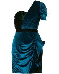 Self-Portrait Gedrapeerde Asymmetrische Mini Jurk - Blauw