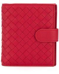 Bottega Veneta Intrecciato Weave Mini Wallet - Red