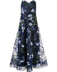 Marchesa notte - Расклешенное Вечернее Платье С Цветочной Аппликацией - Lyst