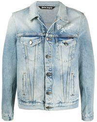 Palm Angels Sacred Heart Denim Jacket - Blue