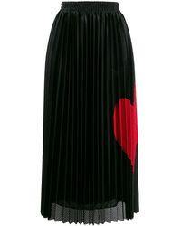 RED Valentino ハート プリーツスカート - ブラック