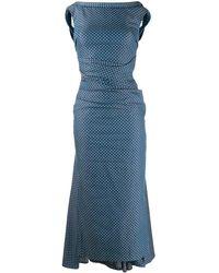 Talbot Runhof ポルカドット デニムドレス - ブルー