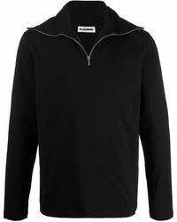 Jil Sander Short-zip Stretch-cotton Jumper - Black