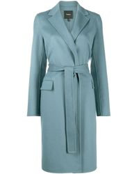 Theory Belted Wrap Coat - Blue