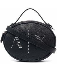 Armani Exchange Studded-logo Crossbody Bag - Black