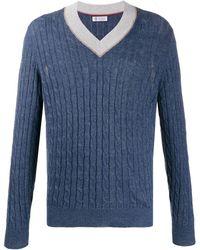 Brunello Cucinelli V-neck Cable-knit Jumper - Blue
