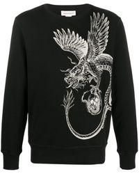 Alexander McQueen Dragon Skull Print Sweatshirt - Black