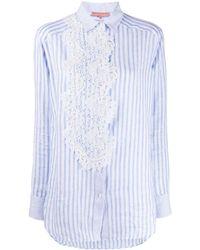 Ermanno Scervino Lace Applique Striped Shirt - Blue