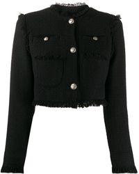 BROGNANO クロップド ツイードジャケット - ブラック
