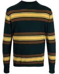 Anglozine Striped Wool Jumper - Green