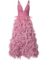 Marchesa notte - Ruffled A-line Gown - Lyst