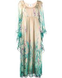 Alberta Ferretti Floral Print Ruffled Trim Gown - Green
