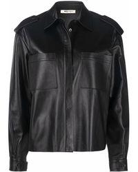Ports 1961 Concealed Leather Shirt Jacket - Black