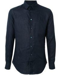 Giorgio Armani Однотонная Рубашка С Длинными Рукавами - Синий