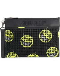 Philipp Plein Smile-print Studded Clutch - Black