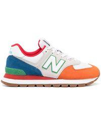 New Balance 574 Colour-block Trainers - Orange