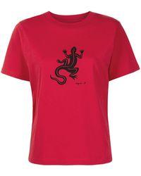 agnès b. Lizard-print T-shirt - Red