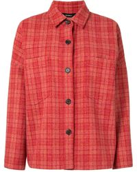 Goen.J オーバーサイズ チェックシャツ - レッド
