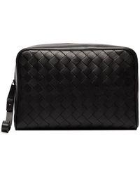 Bottega Veneta Intrecciato Leather Wash Bag - Black