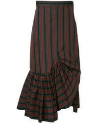 Rosetta Getty Striped Asymmetric Skirt - Zwart