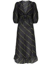 Ganni フローラル ロングドレス - ブラック