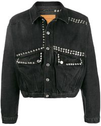 Martine Rose Stud-embellished Cropped Denim Jacket - Black