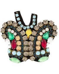 P.A.R.O.S.H. Butterfly Embellished Brooch - Metallic