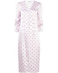 Parlor Button Down Bow-print Dress - Pink
