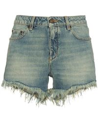 Saint Laurent - Distressed Ripped Shorts - Lyst